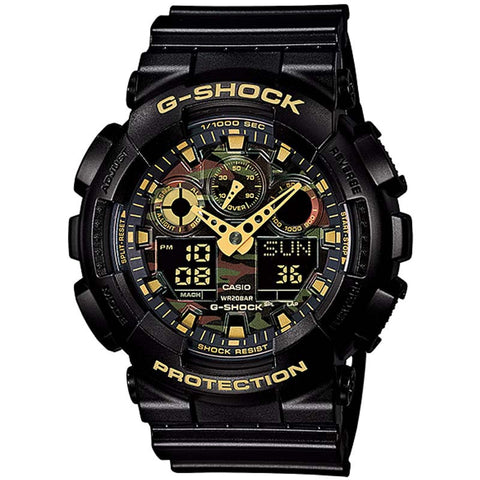 CASIO G-SHOCK CAMOUFLAGE DIAL BLACK STRAP DIGITAL WATCH GA-100CF-1A9JF