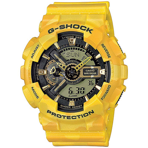 CASIO G-SHOCK YELLOW CAMOUFLAGE PATTERNS DIGITAL WATCH GA-110CM-9A