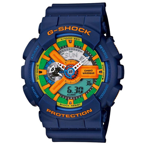 CASIO G-SHOCK X-LARGE SERIES CRAZY BLUE RESIN DIGITAL WATCH GA-110FC-2A