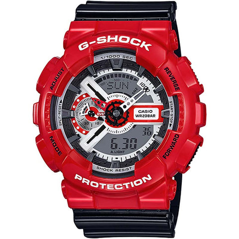 CASIO G-SHOCK BLACK + RED DIGITAL ANALOGUE WATCH GA-110RD-4A