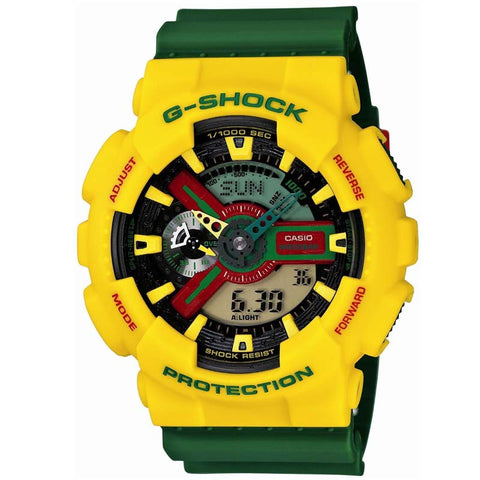 CASIO G-SHOCK RASTAFARIAN YELLOW GREEN WATCH GA-110RF-9A
