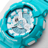 CASIO G-SHOCK AQUA BLUE RESIN DIGITAL ANALOGUE WATCH GA-110SN-3A