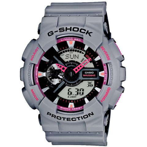 CASIO G-SHOCK COLD GREY   PINK DIGITAL ANALOGUE WATCH GA-110TS-8A4 086a435f2e