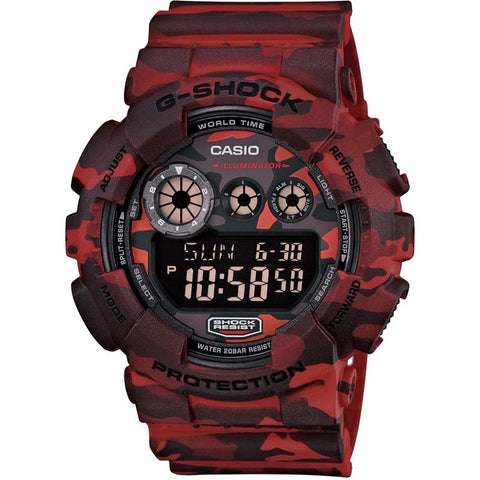 CASIO G-SHOCK RED CAMOUFLAGE PATTERNS DIGITAL WATCH GD-120CM-4