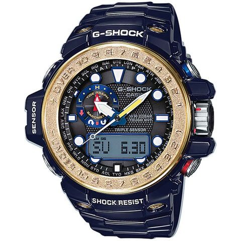 CASIO G-SHOCK GOLD BLUE GULFMASTER TRIPLE SENSOR SOLAR WATCH GWN-1000F-2A