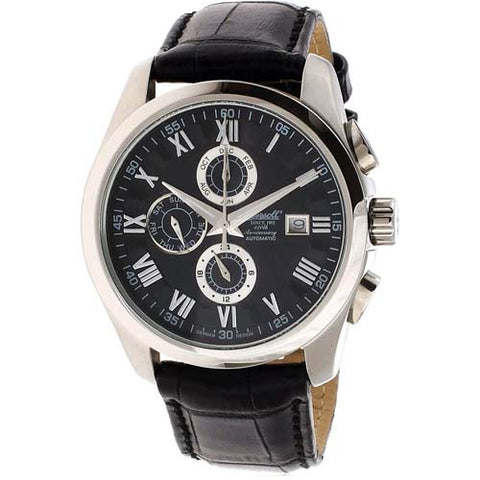 INGERSOLL MEN'S BENTON AUTOMATIC BLACK LEATHER WATCH IN1220BK-T