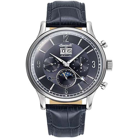 INGERSOLL MEN'S BLACK LEATHER STRAP AUTOMATIC WATCH IN1404BL-S