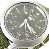 SEIKO 5 MEN'S AUTOMATIC MILITARY GREEN CANVAS STRAP WATCH SNK805K2