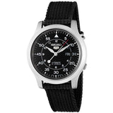 SEIKO 5 MEN'S AUTOMATIC BALCK CANVAS STRAP WATCH SNK809K2