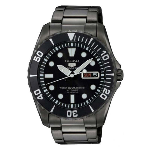 SEIKO 5 SPORTS AUTOMATIC BLACK STAINLESS STEEL WATCH SNZF21J1