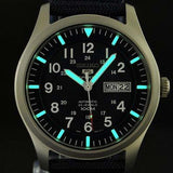 SEIKO 5 MILITARY AUTOMATIC BLUE CANVAS STRAP WATCH SNZG11 SNZG11K1