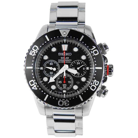 SEIKO SOLAR DIVERS CHRONOGRAPH MEN'S STAINLESS STEEL WATCH SSC015P1