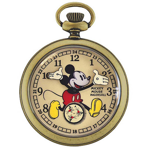 INGERSOLL x DISNEY MICKEY 30's GOLD MECHANICAL POCKET WATCH ZR25835