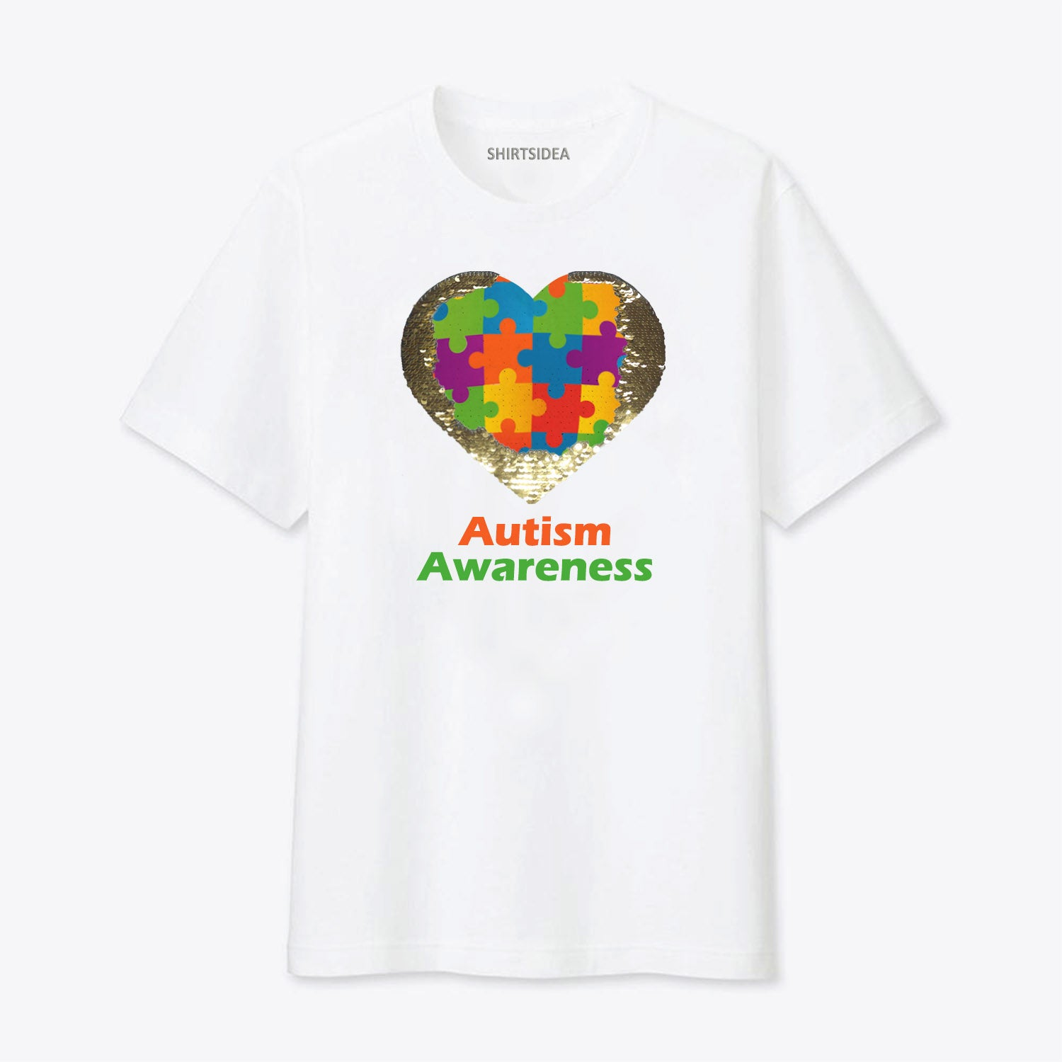 Autism Awareness Flip Heart-Sequins Tee