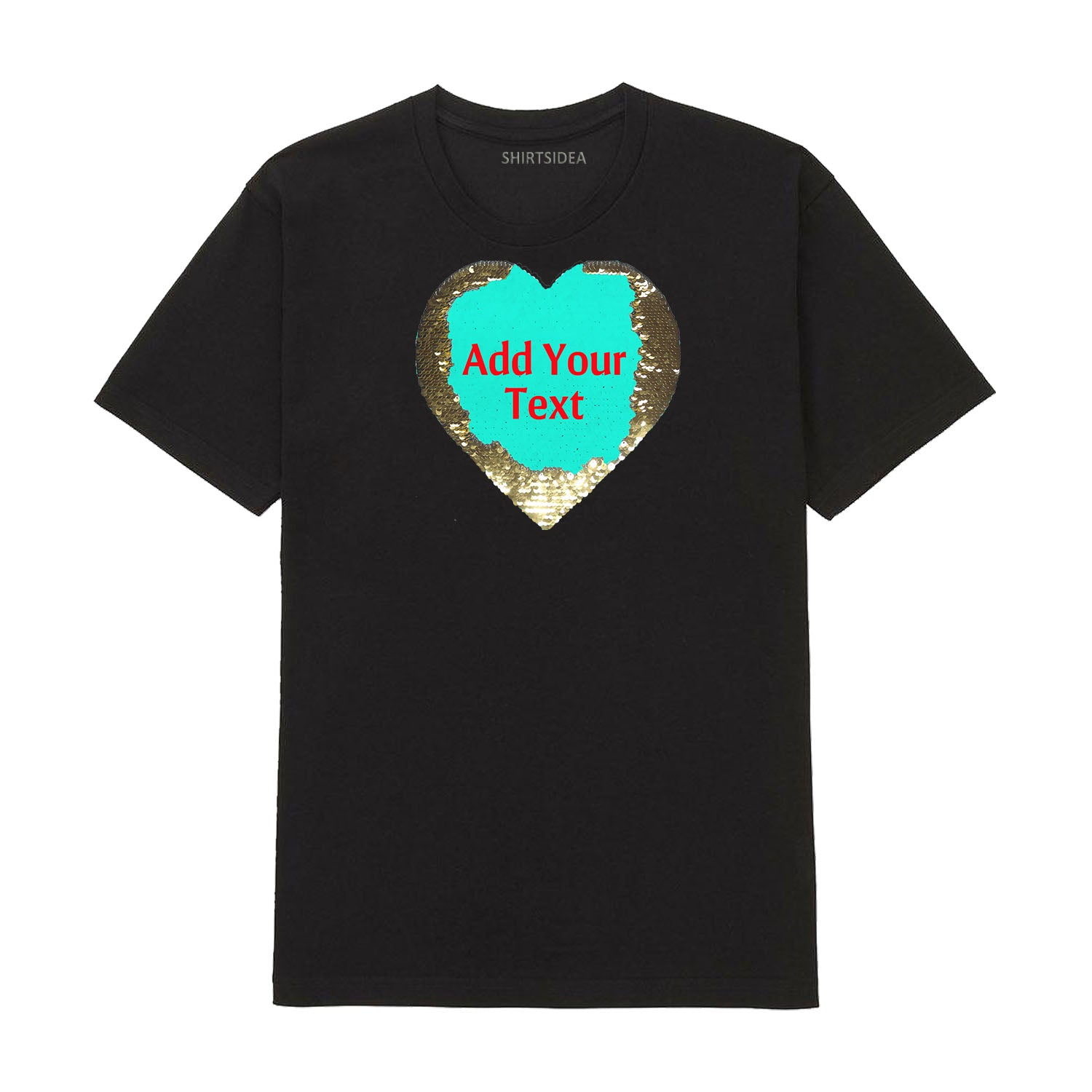 Custom Text Flip Heart-Sequins Tee