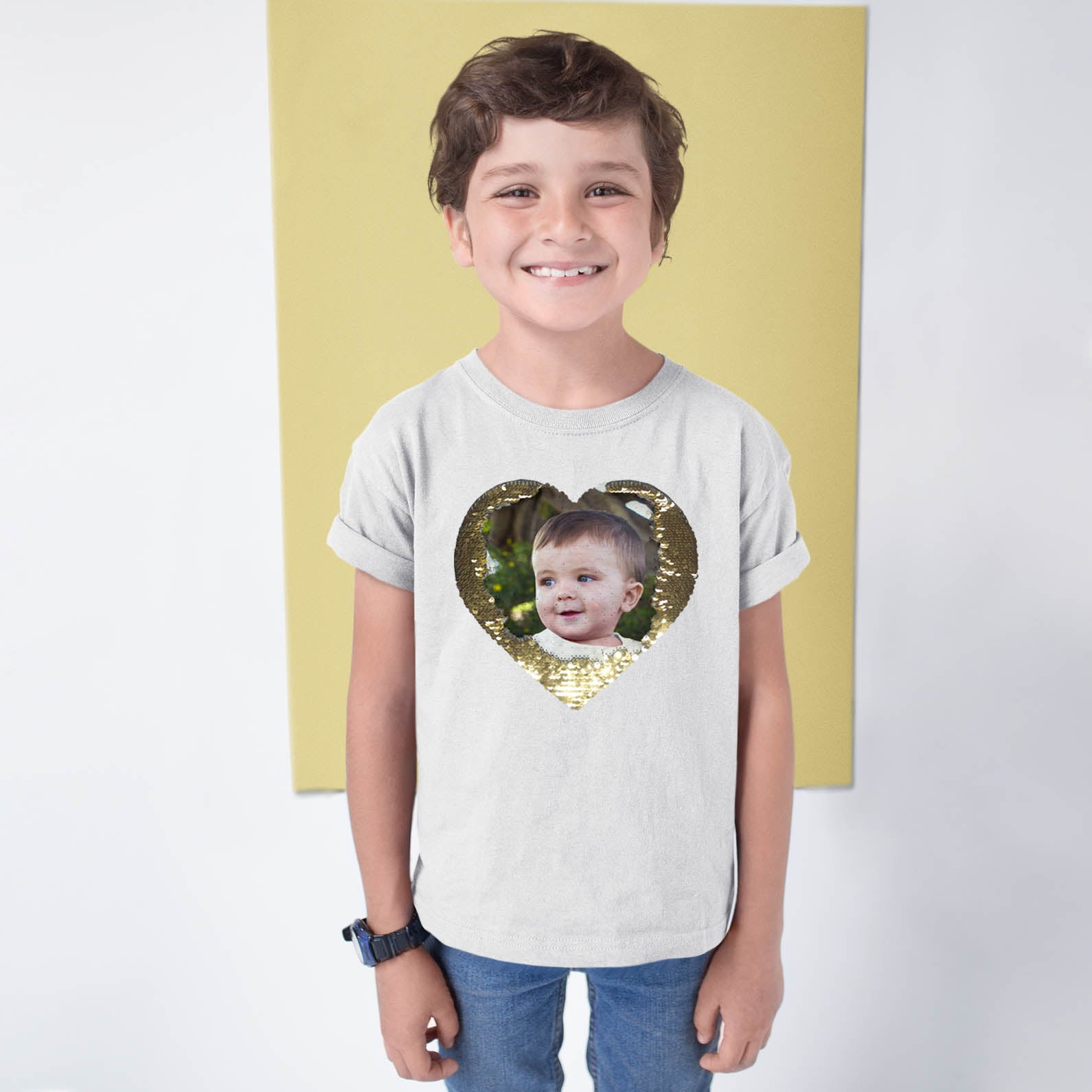 Kids Custom Flip Sequin Shirt(Heart)