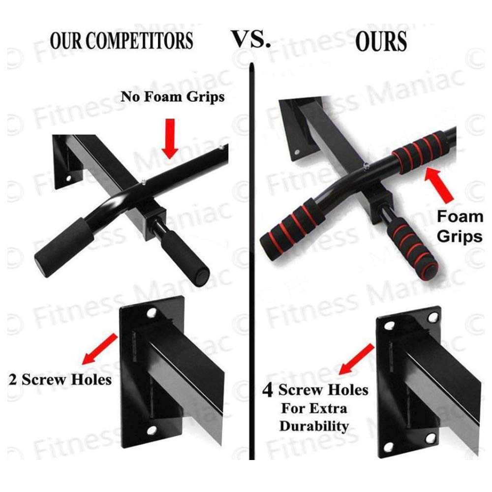 Fitness Maniac Authentic Wall Mounted Chin Up Pull Up Exercise Bar Chinning Up Bars Bracket Workout Dip Station