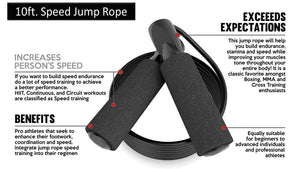 Fitness Maniac Jump Rope Adjustable Speed Rope Black 10ft for Cardio Training Boxing MMA Fitness Sport Gym Men Women Girls Boys Kids U.S.