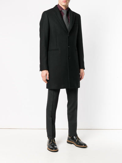 Paul Smith Coat Men's Petrol Wool And Cashmere-Blend Epsom | Black