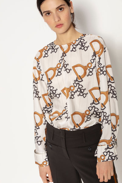 Luisa Cerano Blouse with Stirrup Print | Ecru