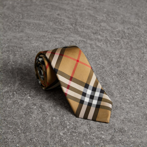 Burberry Tie Modern Cut Vintage Check Silk | Antique Yellow