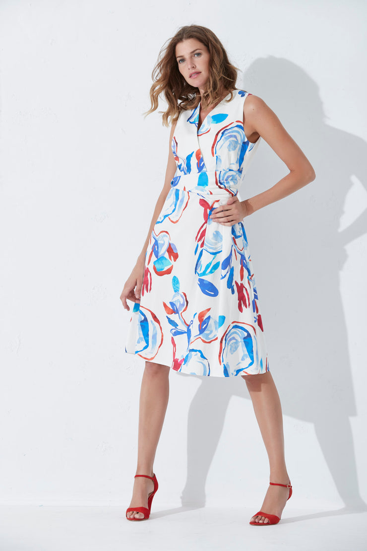 Fox Dress Neldyna | White / Blue / Red