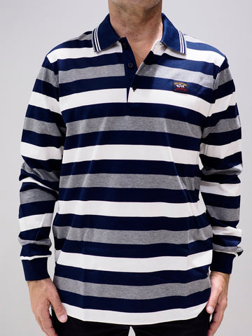 Paul & Shark Polo with Stripes | Navy / Grey / White