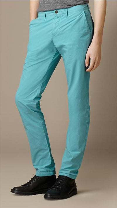 Burberry Men's Trousers Burberry Trousers Slim Fit Cotton Poplin Chinos | CYAN GREEN