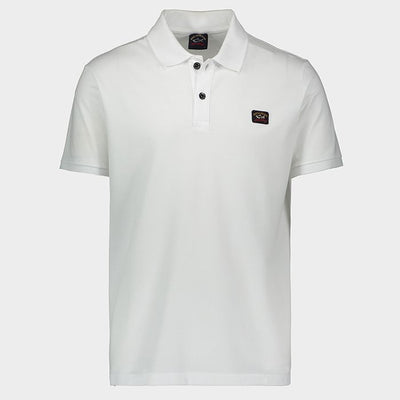 Paul & Shark Polo Organic Pique Cotton with Heritage Logo | White
