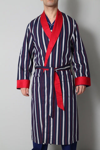 Derek Rose Men's Dressing Gowns Derek Rose Dressing Gown | BLUE / RED