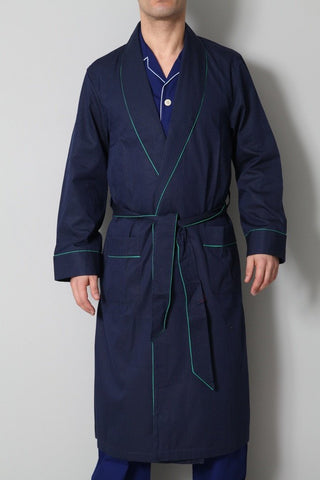 Derek Rose Men's Dressing Gowns Derek Rose Dressing Gown | DARK BLUE / GREEN