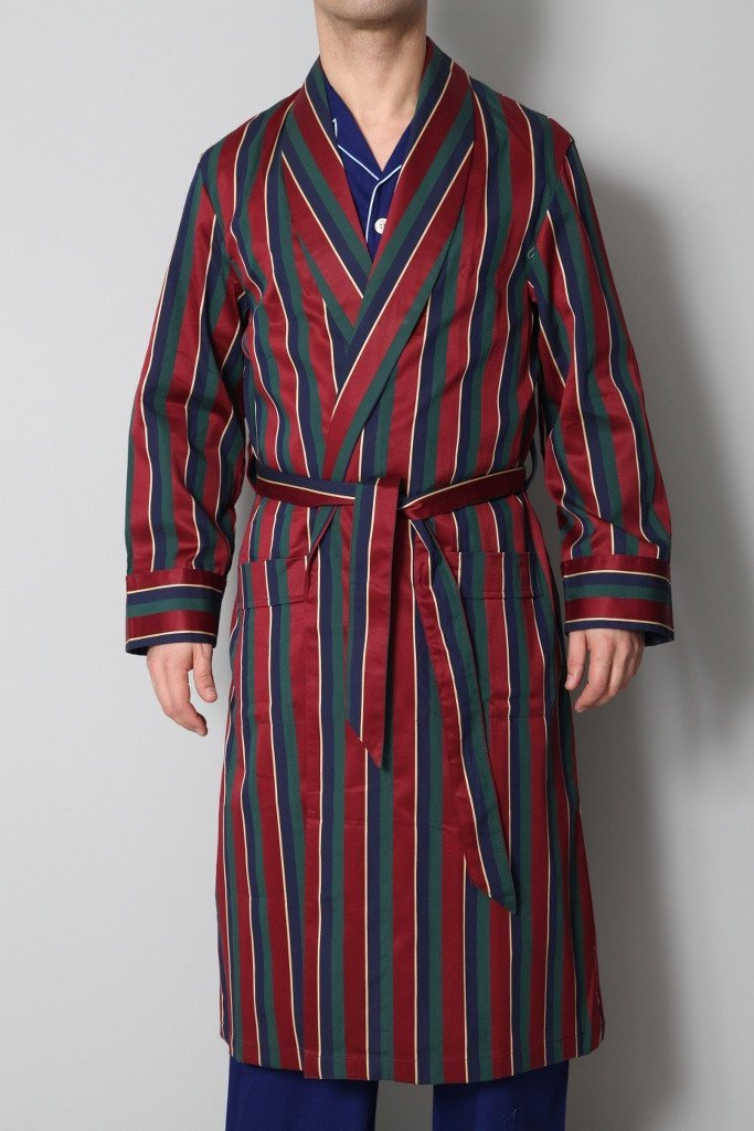 Derek Rose Men's Dressing Gowns Derek Rose Dressing Gown | GREEN / RED