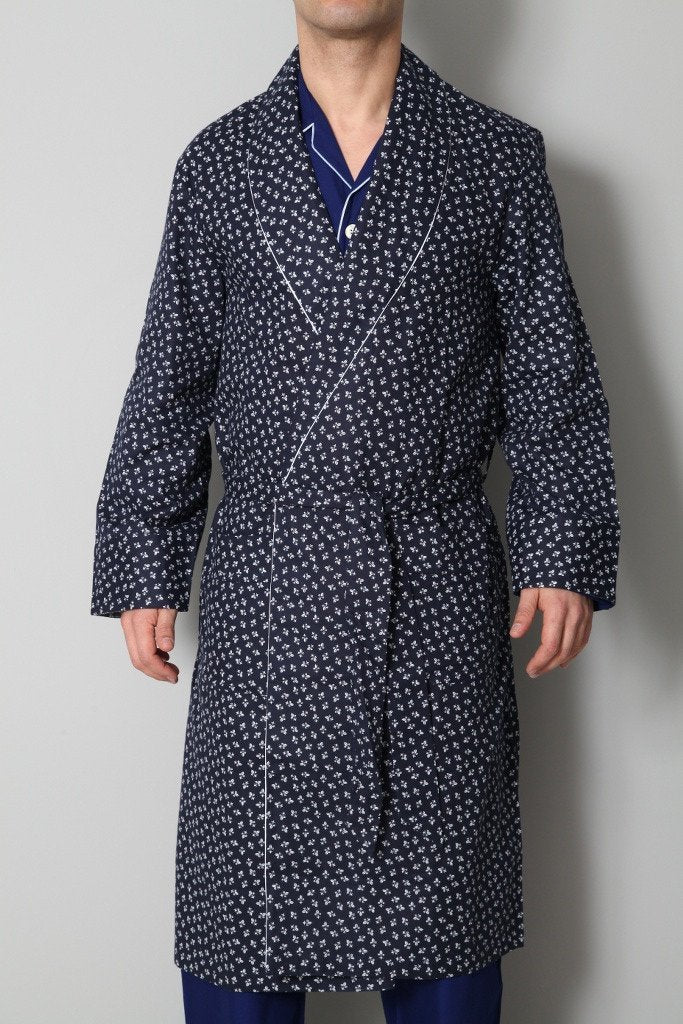 Derek Rose Men's Dressing Gowns Derek Rose Dressing Gown | WHITE / BLUE
