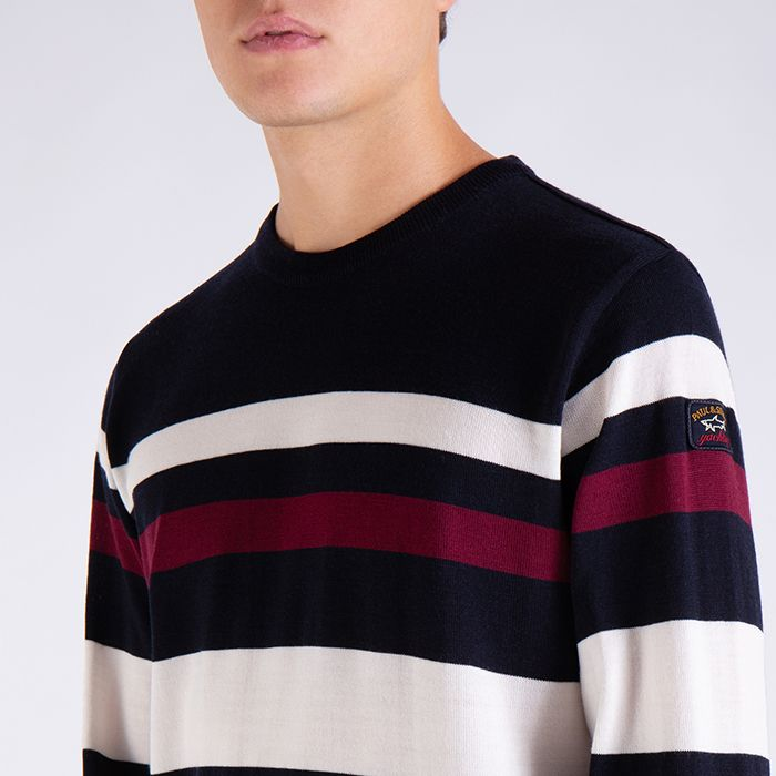 Paul & Shark Sweater Striped Crewneck | Blue / Bordeaux / White