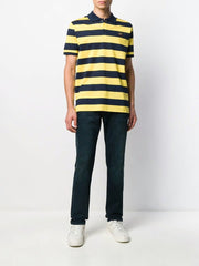 Paul & Shark Polo Striped Organic Pique Cotton | Blue / Yellow