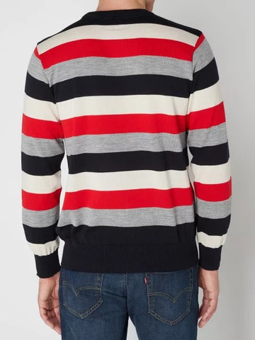 Paul & Shark Sweater Stripes Wool | Red / White / Grey