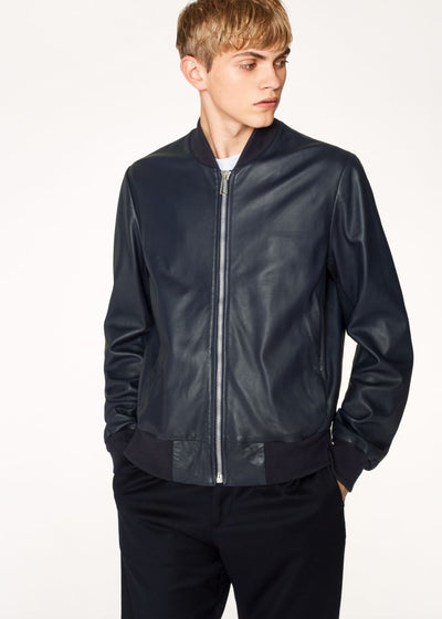 Paul Smith Men's Casual Jackets Paul Smith Casual Jacket Leather Bomber | BLUE