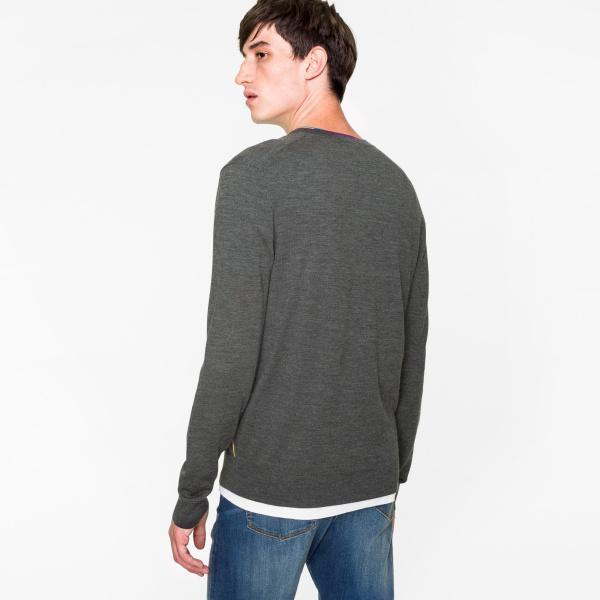 Paul Smith Men's Sweaters Paul Smith Sweater Marl Wool-Blend V-Neck With Multi-Coloured Stripe Detailing | GREY