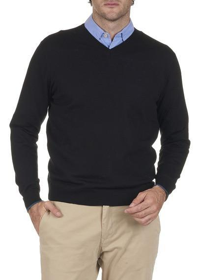 Paul Smith Men's Sweaters Paul Smith Sweater V-Neck Merino Wool | BLACK