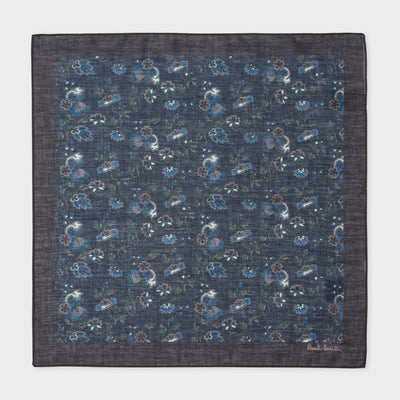 Paul Smith Pochette Paul Smith Pocket Square 'Logan Floral' Print Cotton  | NAVY