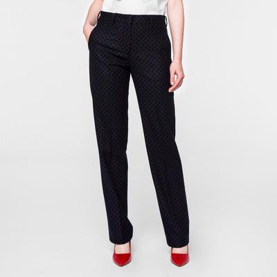 Paul Smith Women's Trousers Paul Smith Trousers Flocked Polka Dot | NAVY