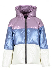 Anonyme Down Jacket Short Tricolor | Lila / Blue / White