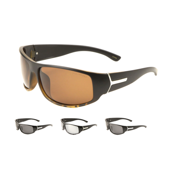 Polarized Sports Wrap Metal Accent Sunglasses
