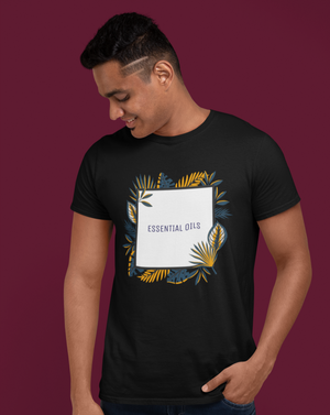 Essential Oils Square Men's T-shirt With Colorful Leaves - Echo Essential Wear