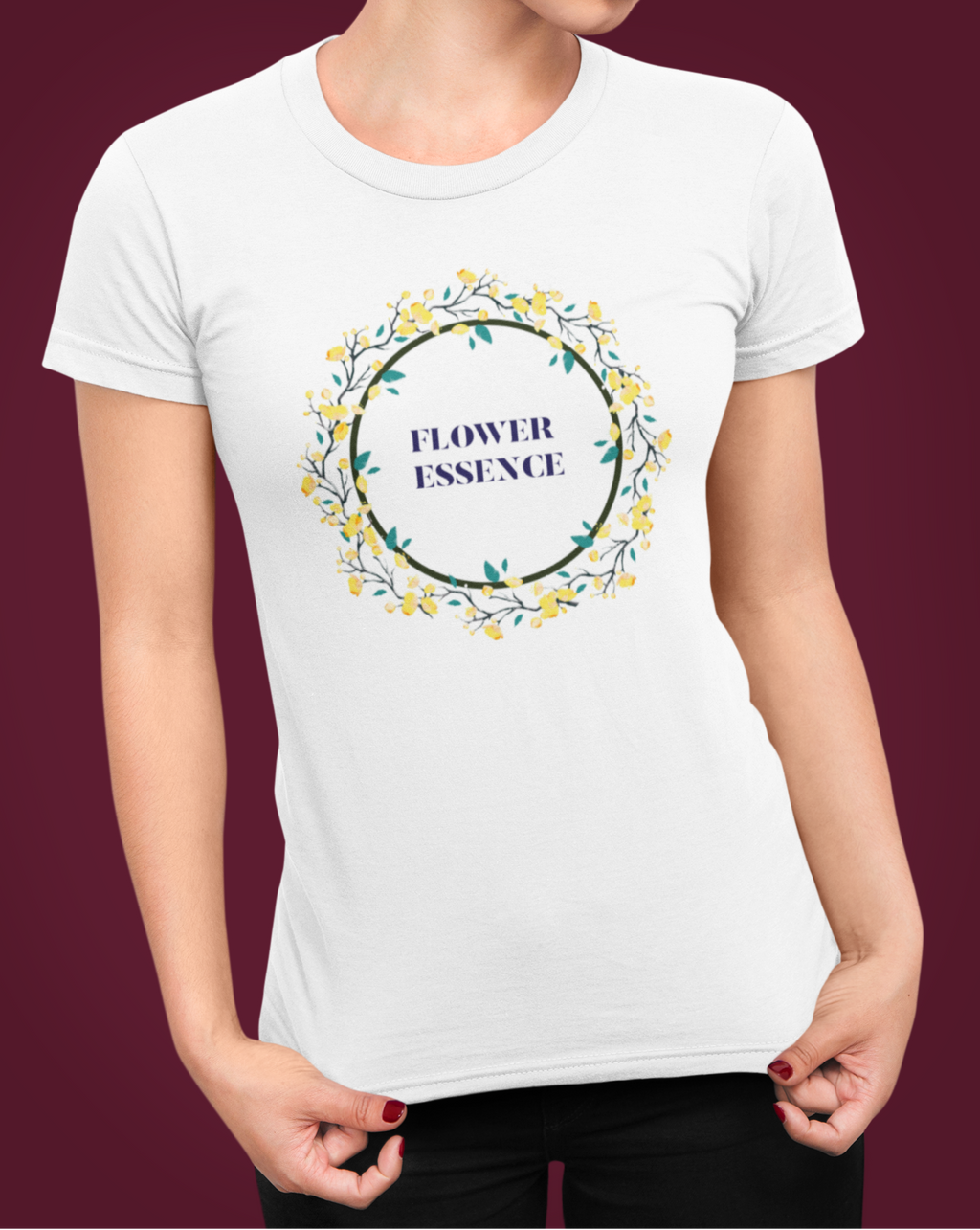 Flower Essence Circle T-shirt With Flowers - Echo Essential Wear - Essential Oil T-Shirt Fashion