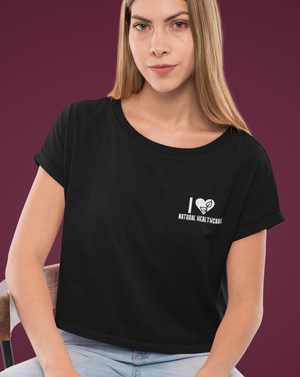 I Love Natural Healthcare Embroidered Crop Top - Echo Essential Wear - Essential Oil T-Shirt Fashion