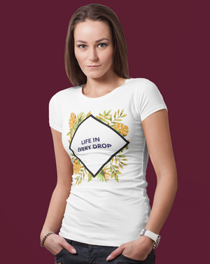 Life In Every Drop Diamond T-shirt With Colorful Leaves - Echo Essential Wear - Essential Oil T-Shirt Fashion