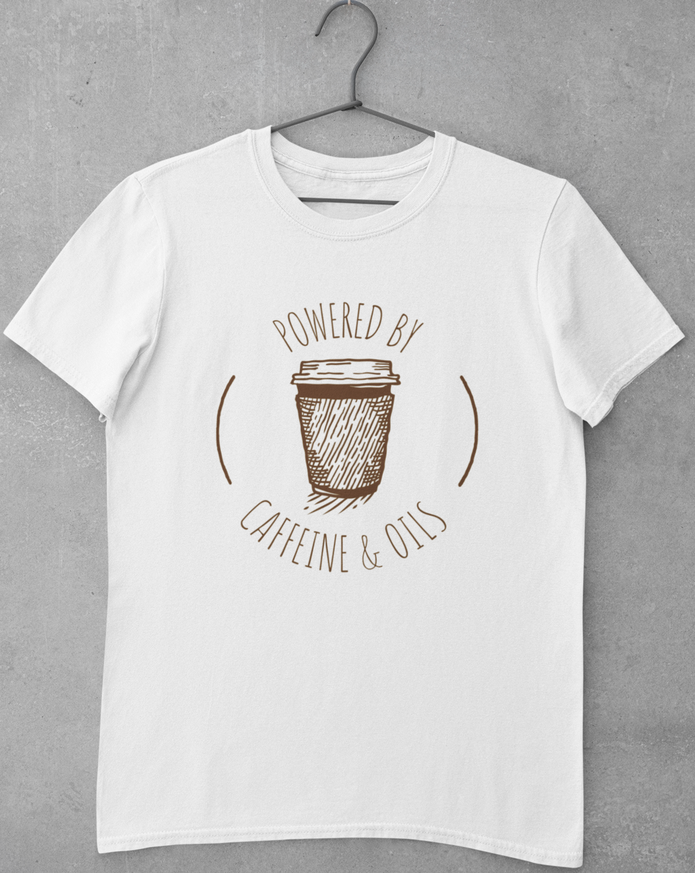 Powered By Caffeine And Oils T-shirt - Echo Essential Wear - Essential Oil T-Shirt Fashion