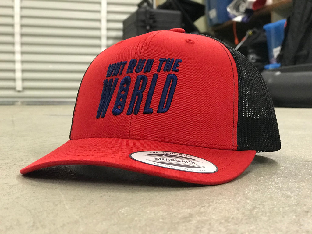 AO Snapback Trucker Hat - WNT Run the World - Black/Red