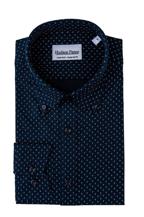 NAVY BLUE WITH BLUE AND WHITE DOTS